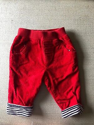 JoJo Maman Bebe baby boy red cords trousers, aged 0-3 months