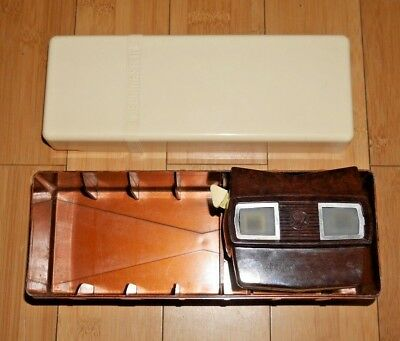 VIEWMASTER VIEWER MODEL E & LIBRARY REEL STORAGE BOX VINTAGE 1950's - RARE  A782
