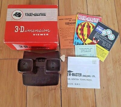 VIEWMASTER VIEWER ORIGINAL MODEL E BAKELITE BOXED RARE VINTAGE 1950's TOY  B708