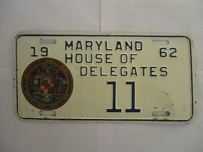 NICE 1962 Maryland HOUSE OF DELEGATES  License Plate Tag