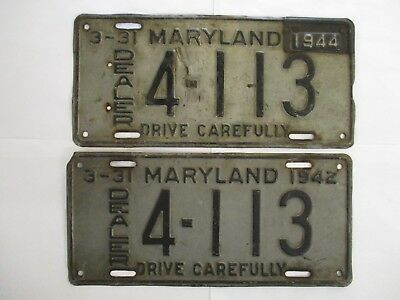 PAIR 1944  Maryland DEALER  License Plate Tag