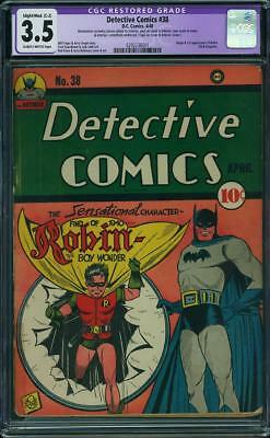 Detective Comics 38 CGC 3.5 VG- Slight/Mod C-2 DC 1940 Batman Origin Robin