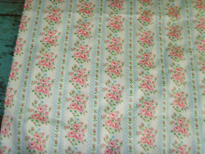 """BEST vintage pink roses BOUQUETS blue stripe ticking fabric material CHIC 32x76"""""""