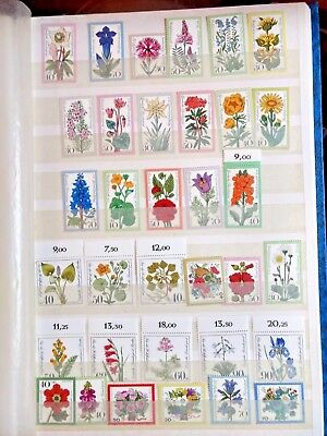 Berlin german flower stamp lot 34 unused stamps floral germany 1975 70s 80s