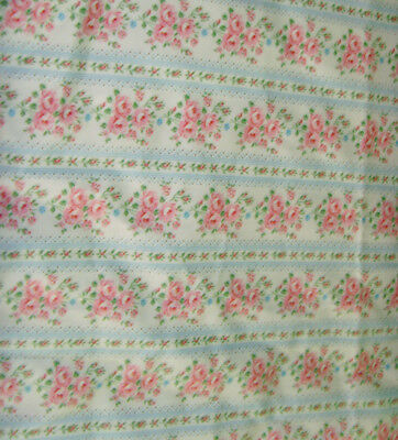 2 vintage pink roses bouquets on blue stripe vintage ticking pillowcases chic