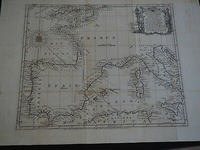 """Antique Map """"A New and Correct Chart of the Seat of War on the Coasts of France"""