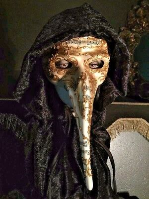 Spooky Long Nose Pagan Masquerade Carnival Halloween Mask with Hooded Cloak