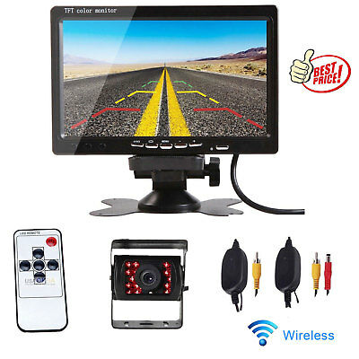 """7"""" HD Monitor+Wireless Rear View Backup Camera Night Vision for RV Truck Bus HOT"""
