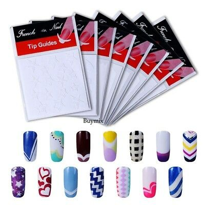 Nail Tip Guides Stickers French Manicure Nail Art Stencils Acrylic Gel Polish