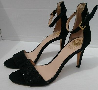 36ee48687c81 Vince Camuto Black Shimmery Open Toe Ankle Strap Heels Size 8.5 VC-Court