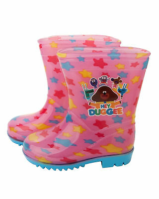 Girls Hey Duggee Pink Wellies Rain Official Wellington Boots Kids Uk Size 5-10