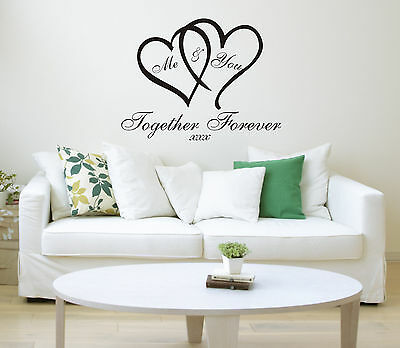 Me & You Love Heart Quote Wall Sticker Art Home Decal wallart Family Bedroom