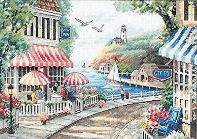 "DIMENSIONS ""CAFE BY THE SEA""CROSS STITCH KIT  Kreuzstich-Stickpackung 36х25 CM"