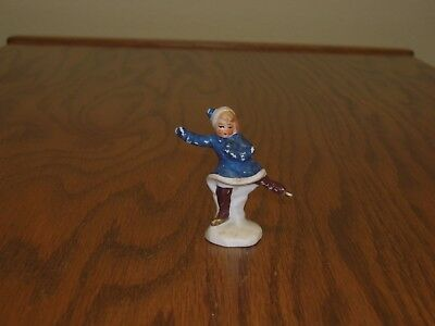 Antique  Germany Bisque no snow Hertwig one foot blue girl Skater Snow Baby