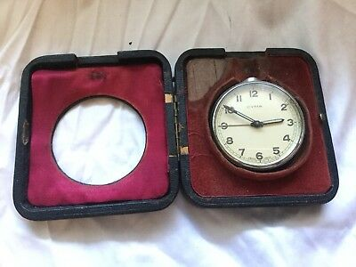 Vintage Cyma Travel Alarm Clock In Leather Coated Case