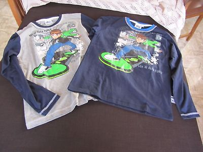 Lotto 2 T-Shirt Manica Lunga Ben Ten Nuove Cartoon Network Bambino 10 Anni