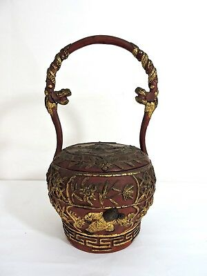 Rare Antique Chinese Red Gold Wood Wedding Basket, Qing, Dragon Handles Children