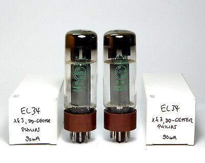 Matched Pair Philips Sitard EL34 Amplifier Tubes, DD-Getter Brown Base Xf3 Codes