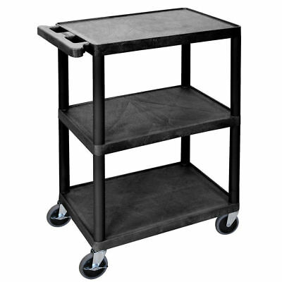 "Luxor Black Plastic 3-Shelf Utility Cart - 24""L x 18""W x 34""H"