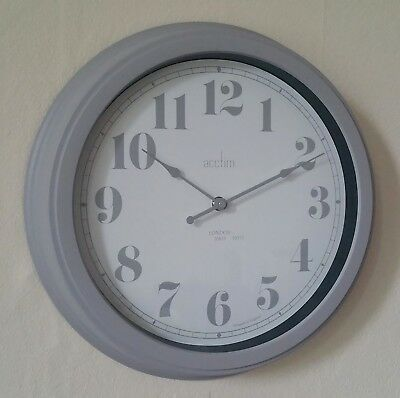 Acctim Chester Mist Grey 35 cm Large Vintage Retro Style Wall Clock