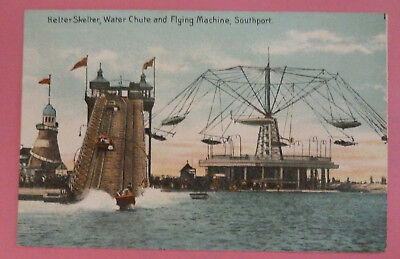 Vintage Postcard, Helter Skelter, Water Chute and Flying Machine, Southport