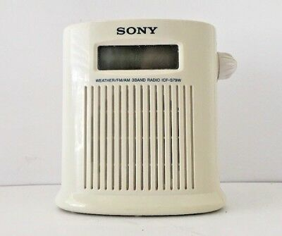 SONY ICF-S79W Water Resistant Shower 3 Band Radio AM FM Weather Nice Condition!