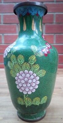 Antique Vintage Highly Decorated Chinese Cloisonné Vase Green Asian