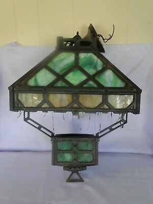 Antique Hanging Iron & Stained Glass Gothic Converted Oil Chandelier Light