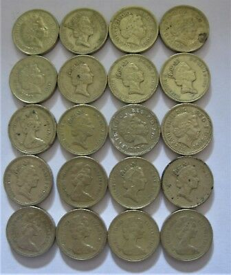 20 Piece Lot of One Pound Coins From The United Kingdom