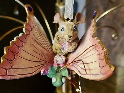 Mouse on a dragonfly Ornament/Decoration with ribbon to hang up