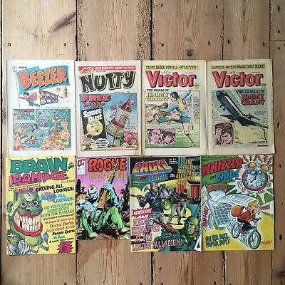 6 Assorted Comics Victor Nutty Whizzer Chips Beezer Brain Damage Rogue Trooper
