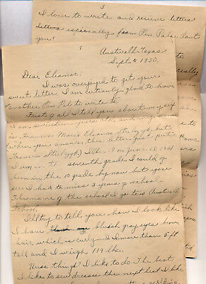 1930 Pen Pal Letter from  Austwell Texas to Hopewell NJ New Jersey girl age 17