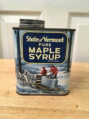 State of Vermont pure maple syrup tin 32 FL. OZ Vintage empty