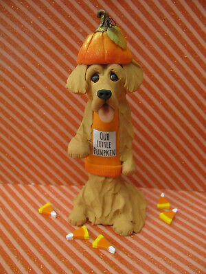 "Handsculpted Golden Retriever ""Our Little Pumpkin"" Figurine-6 pc."