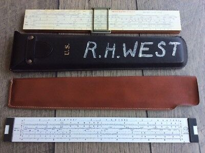 US Military Slide Rule American Blueprint Co. & Pickett No 121 Lot of 2 w Case