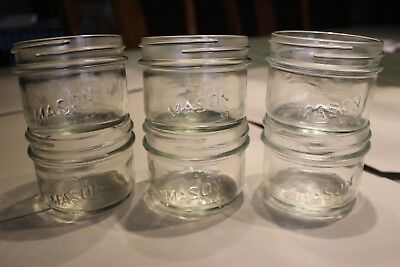 6 Vintage Consumer Glass 250 ml wide mouth canning jar fish decoration 1970s