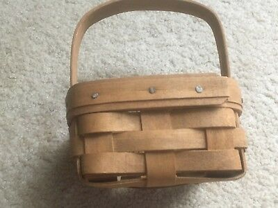 "Old Vtg. Small Longaberger Basket 1985 Handwoven Approx. 4"" by 4"" by 2-1/2"" Deep"