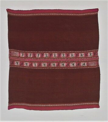 VISUAL MASTERWORK SPECIAL ANDEAN INDIAN Antique Aymara Llama Wool Mantle TM12828