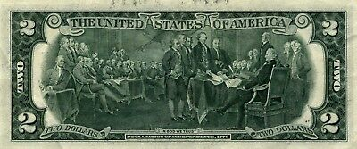 G5 1976 Two Dollar Note,Large Ink Bleed Thru On Reverse Chgo FRN,Paper Currency