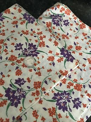 Two Pieces Vintage Feedsack Feed Sack Material Hemmed Purple Orange Floral