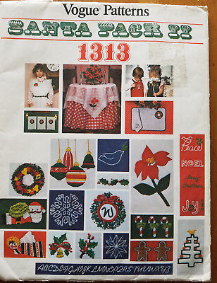 Vintage Vogue Pattern Santa Pack II 1313 Christmas Accessories Embroidery TRANSF