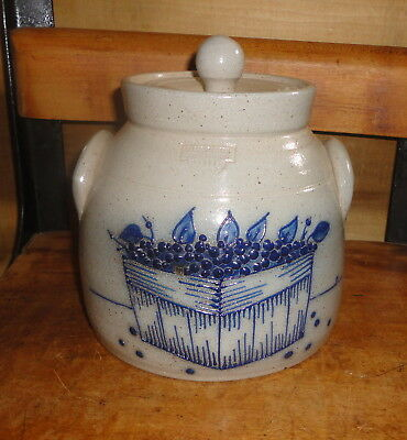 1993 Salmon Falls Stoneware Cookie Jar Canister With Blueberry Box Pattern
