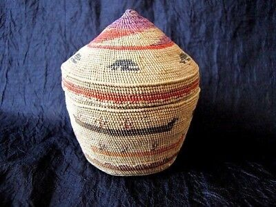 Rare Extremely Fine Early 1900's Makah Indian Northwest Basket Small Size!!