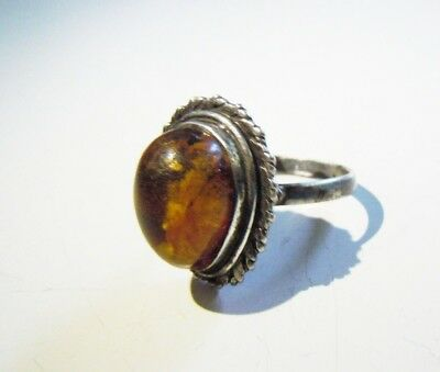Russian Empire 84 Silver Ring with Amber stone Faberge design