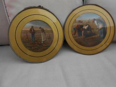 ANTIQUE LITHOGRAPH FLUE COVERS THE ANGELUS & THE GLEANING Jean Francois Millet