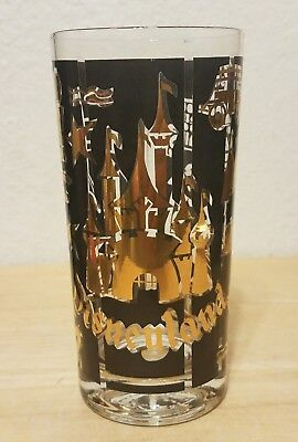 Vintage Disneyland Castle Tall Glass Gold Leaf Atomic Mid Century Walt Disney