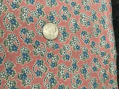 Two Pieces Vintage Feedsack Feed Sack Material Hemmed Blue White Floral on Pink