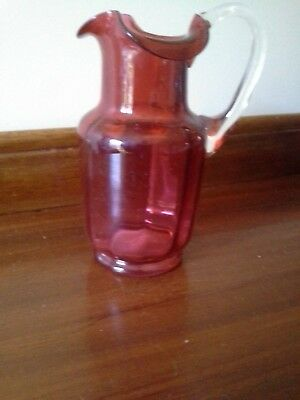 VICTORIAN CRANBERRY GLASS JUG ( My s/b)