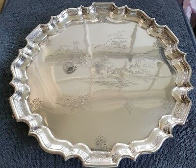 Sterling Silver Hardy & Hayes Co. Salver Tray Chippendale Reproduction 856.6 g