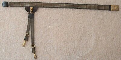 Leather sword belt with Eagle Plate and gold bullion brocade overlay trimmed